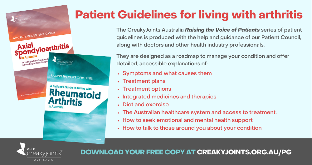 CreakyJoints Australia Raising the Voice of Patients - Patient Guidelines for living with arthritis Ad